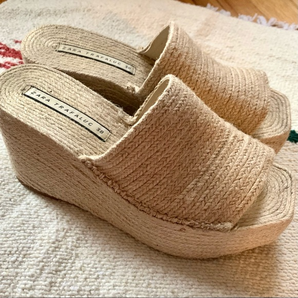 Zara jute raffia wicker wedge sandals slides sz 38